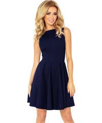5666929fdd4 numoco Společenské a plesové exkluzivní šaty s kolovou sukní krátké tmavě  modré