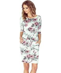 numoco Dámské sportovní šaty netopýří střih s kapsami na zavazování  květované růžové. 949 Kč 1baca018e7
