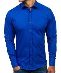 Kráľovsky modrá pánska elegantná košeľa s dlhými rukávmi BOLF 1703 c0b17fe05e3