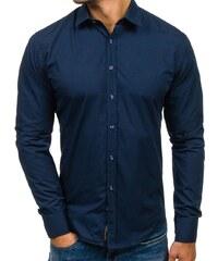 c5f69d3e2a63 Tmavomodrá pánska elegantná košeľa s dlhými rukávmi BOLF 1703