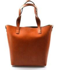 62f5e23c47 Kožená praktická mahaganovo hnedá veľká taška Evita 2v1 VERA PELLE
