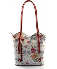78c95af4dd83 Kožená luxusná kvetinová biela s červenou crossbody kabelka Royal flower  VERA PELLE