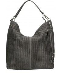 Kožená sivá veľká kabelka cez rameno Justin VERA PELLE 98c61d9ac4d