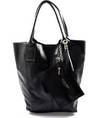 Kožená čierna taška cez rameno melani VERA PELLE ee406d0375d