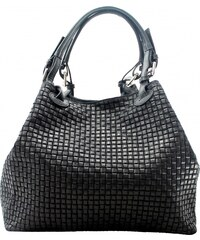 Kožená čierna kabelka cez rameno madeleine VERA PELLE 4367455be9b