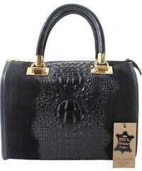 15da86ef9b Kožená krokodílí čierna kabelka do ruky christele VERA PELLE