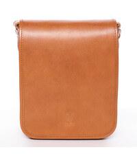 693c1bb5e1 Luxusná svetlo hnedá kožená taška cez rameno ItalY Harper hnedá