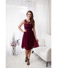 508995b12440 Eva   Lola Dámské vínové šaty krátké 1233 Debora