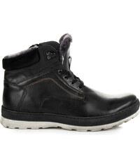 262fe4edfd02c LUCCA Pánske zateplené čierne kožené členkové topánky
