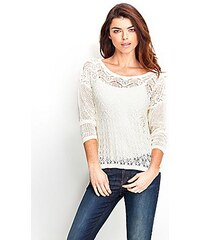 f46cda981bc Svetr Guess Long Sleeve Pointelle Sweater bílý