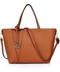 Anna Grace Hnědá moderní dámská kabelka do ruky i přes rameno Rielen 6f9ad388cab