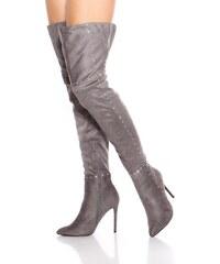 In-Style Kamienkové vysoké čižmy nad kolená na podpätku e711e0b6220