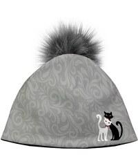 9d8cae75d Bertoni Dizajnová dámska čiapka s veľkým brmbolcom - Black and White