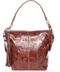 Dámská kožená kabelka přes rameno světle hnědá - ItalY Heather hnědá 452c3433494