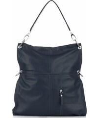d7bfe5dd5b Vera Pelle Univerzální kožená italská kabelka Made in Italy Tmavě modrá