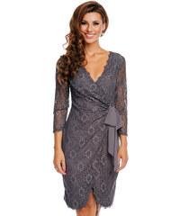 Společenské šaty MAYAADI Deluxe krajkové falešně zavinovací šedé 38feb02c4f