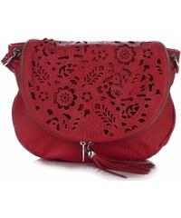 2d96a288d42 Vittoria Gotti Dámská kožená kabelka listonoška – vysoká kvalita červená