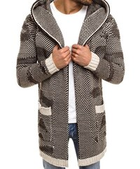 Moderní pánský svetr s kapucí šedo-hnědý MADMEXT 2150 18 331fae1dd1