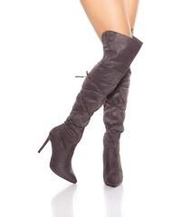 66485ef290 In-Style Dámske semišové čižmy - Vysoké nad kolená so šnúrkami