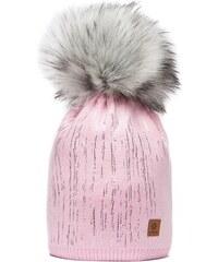 Růžová čepice Woolk se stříbrnými proužky a šedou bambulí e5c06bc916
