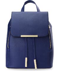 de652f8f522 World-Style.cz Stylový dámský batoh s klopou zpevněné dno eko kůže tmavě  modrá