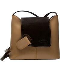 Kožená crossbody kabelka L Artigiano 8141 béžová   hnědá 2e45864cbe0
