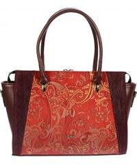 Červeno-bordová elegantná kabelka s etnickým vzorom S718 GROSSO a7dd8b74c82