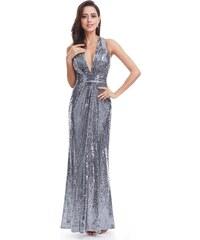 6456911a340 Ever-Pretty Stříbrné jiskřící šaty s hlubokým výstřihem