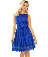 49eceb82949 numoco Společenské dámské šaty středně dlouhé krajkové modré