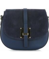 374471f765 Vera Pelle Elegantní kožená kabelka listonoška Tmavě modrá