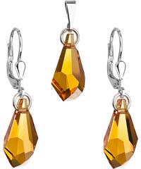 149b235178dc EVOLUTION GROUP Sada šperkov s krištáľmi Swarovski náušnice a prívesok žltá  kvapka 79003.3