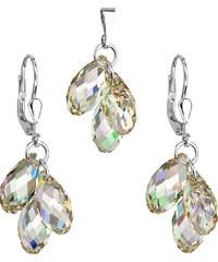 EVOLUTION GROUP Sada šperkov s krištálmi Swarovski náušnice a prívesok žltá  slza 79001.3 754a72016e3