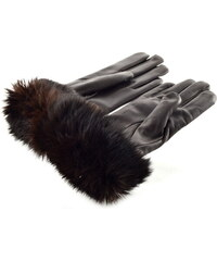 39c7b4e66db Bohemia gloves Hnědé kožené rukavice s kožešinkovou manžetou