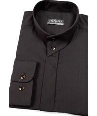 eafe4d371388 Pánska košeľa se stojáčikom na 2 gombíky čierna Avantgard 452-23-39 182