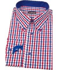 Pánská košile SLIM kostkovaná modrá s červenou Avantgard 124-1812-41 42  2666923f79