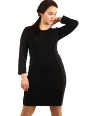d11316b44875 TopMode Černé šaty s krajkou a dlouhým rukávem - pro plnoštíhlé (černá