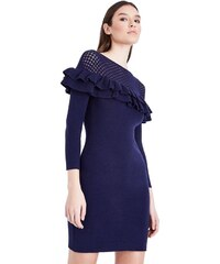 NEW LOOK Modré pletené bodycon šaty s volánmi a mriežkovaným sedlami 5fb8d891e7b
