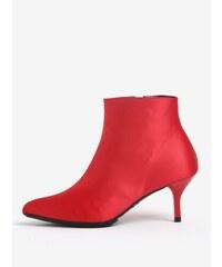 Červené členkové topánky na podpätku OJJU e964227bbbc