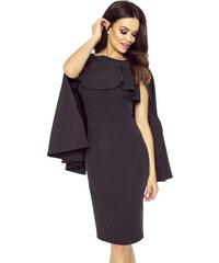 7147dc0ecf61 Bergamo Čierne púzdrové šaty s volánom a pelerínou ESME 94-05 S