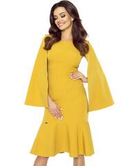 Bergamo Medovo žlté šaty s volánom a širokými rukávmi LAURA 93-02 M b1d7c98e3a9