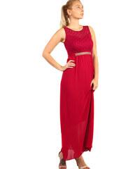 Glara Dlhé plesové šaty s kamienkovou aplikáciou v páse dde8f608844