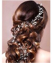 0e8e6296f74 B-TOP Svatební ozdoba do vlasů S PERLAMI A KAMÍNKY - bílá stříbrná
