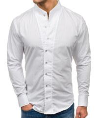 162161a09a5a Biela pánska košeľa s dlhými rukávmi BOLF 5702