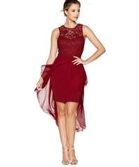 QUIZ červené společenské šaty s krajkovým třpytivým topem a asymetricky  střiženou šifónovou sukní 0837c133ba