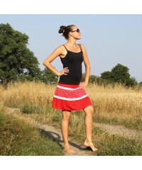 97b19537a2b Radka Kudrnová Červená sukně s krajkou