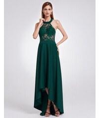 Ever-Pretty Tmavozelené šaty s americkými průramky a high-low sukní zdobené  krajkou be83a05ad8