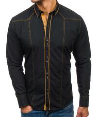 cc4ad42ba662 Čierna pánska elegantná košeľa s dlhými rukávmi BOLF 4777