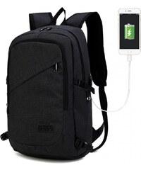 92ed1ec558d KONO černý moderní elegantní batoh s USB portem UNISEX