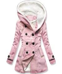Butikovo Ružový zimný kabát s kožúškom 808b9ea7508