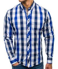 c527761e0e81 Tmavomodrá pánska kockovaná košeľa s dlhými rukávmi BOLF 4791